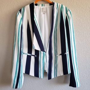 Halogen | Asymmetrical Striped Blazer